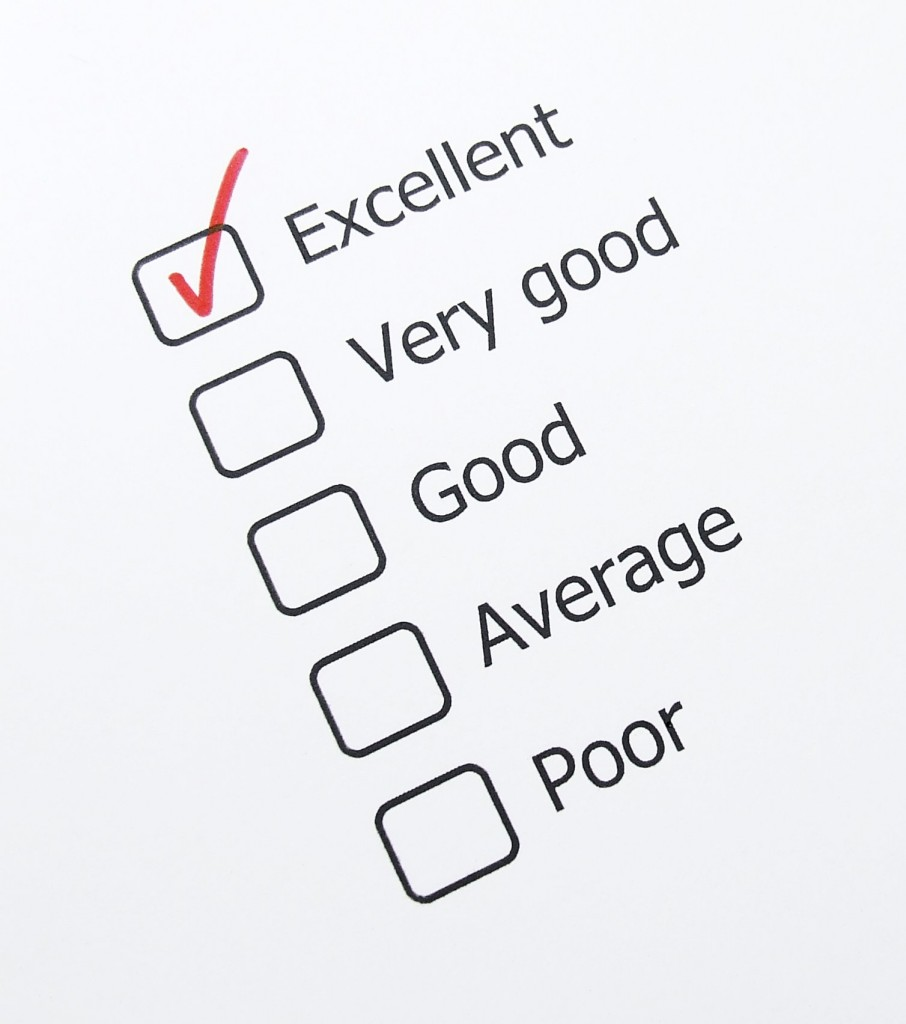 Check boxes with the words Excellent, Very Good, Good, Average, Poor and a red checkmark in the box marked Excellent