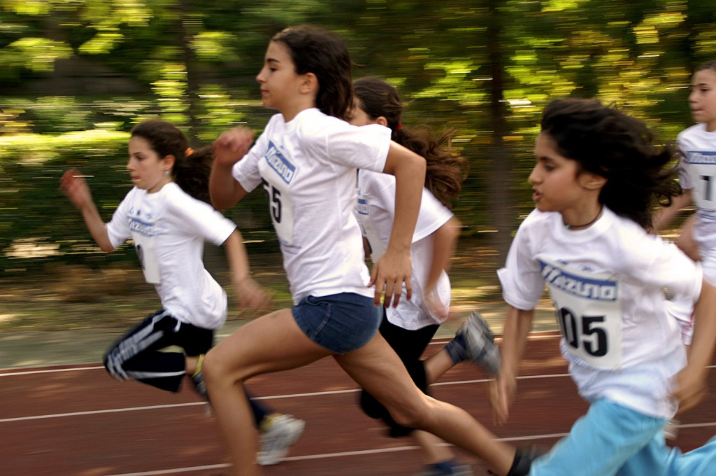 Girls running in a race