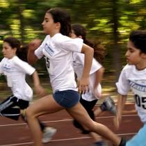 Girls running in a race