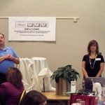 Scott Crain and Anne Ladd present to rookie parent mentors at a Kickoff Conference