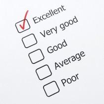 Checklist reading Excellent, Very Good, Good, Average, Poor