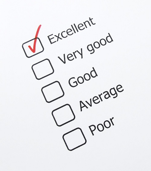 Checklist reading Excellent, Very Good, Good, Average, Poor