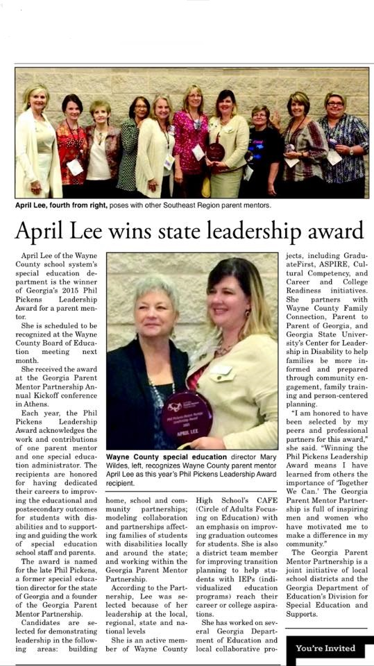 newspaper clipping of April Lee in her local paper
