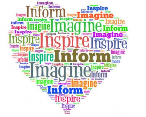 The words inspire, Inform and Imagine fill in a heart shape