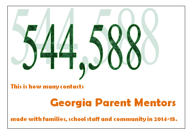 544,588 is the number of contacts parent mentors made with families, school staff and community members in 2014-15