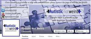 Screen shot of Facebook page Autistic Not Weird