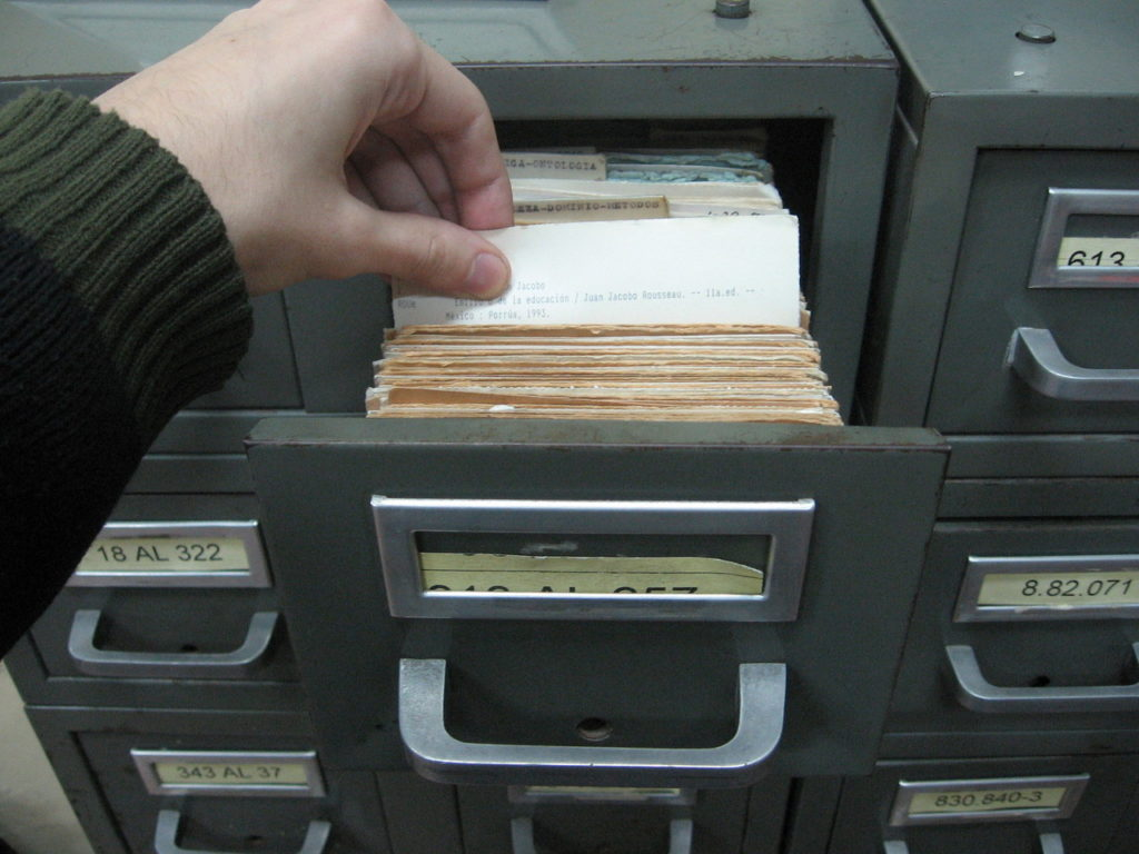old fashioned library card catalog